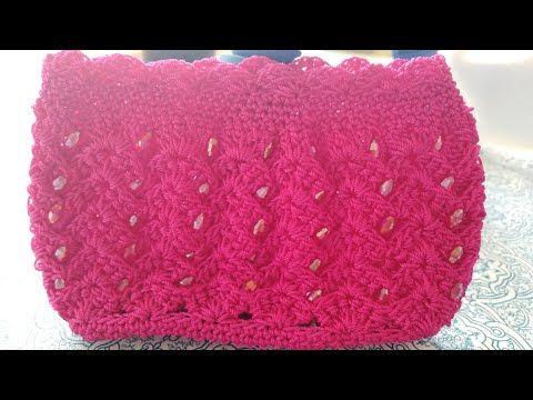 Monedero Tejido a Crochet Con Perlas - YouTube Tejiendo