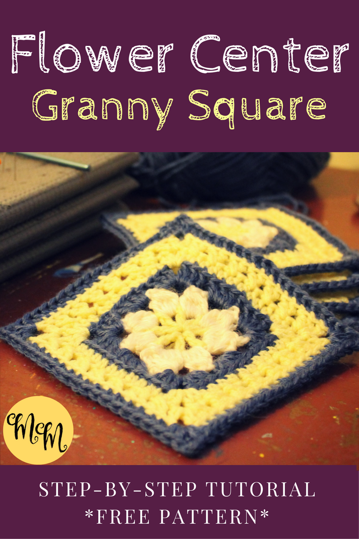 Easy free tutorial! Flower Center granny square step-by-step pattern