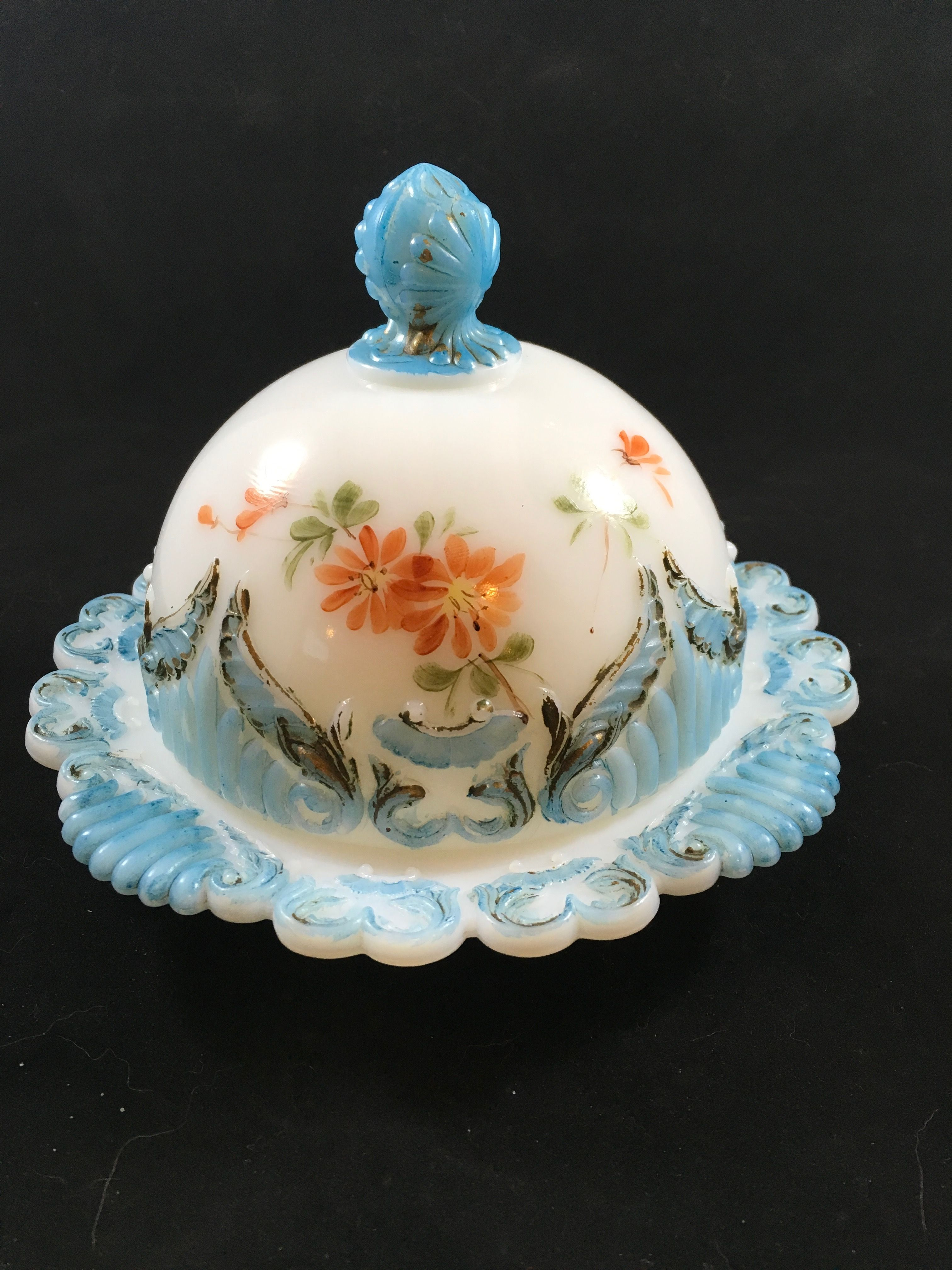 Antique Dithridge Sugar Bowl with Lid Astoria Rose Pattern 1900s Pressed Glass Hand Painted Pink