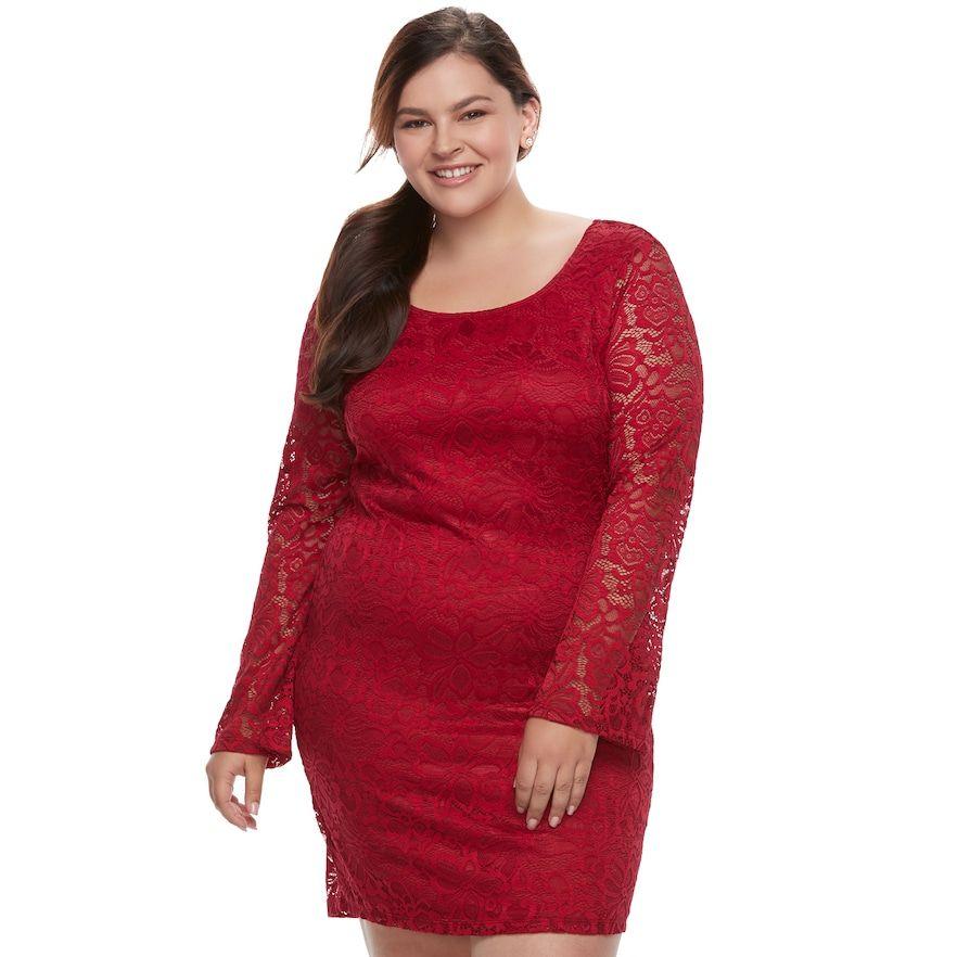 Liberty Love Juniors Plus Size Liberty Love Lace Bodycon Dress