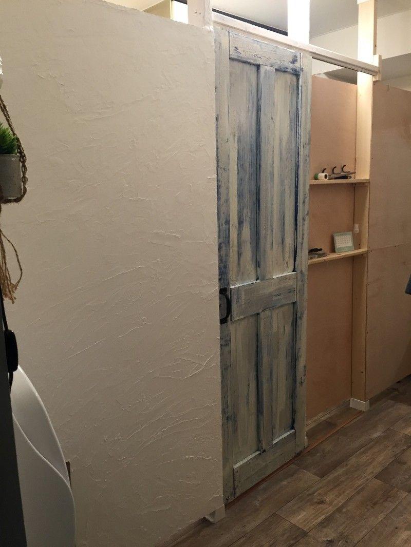 お友達のおうち大改造 作ったドアは を使って引き戸にします