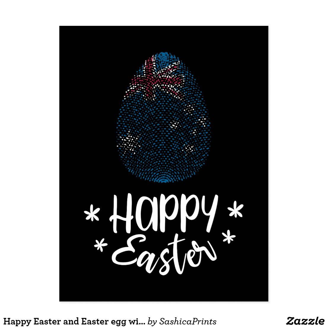 Happy easter and easter egg with australian flag postcard