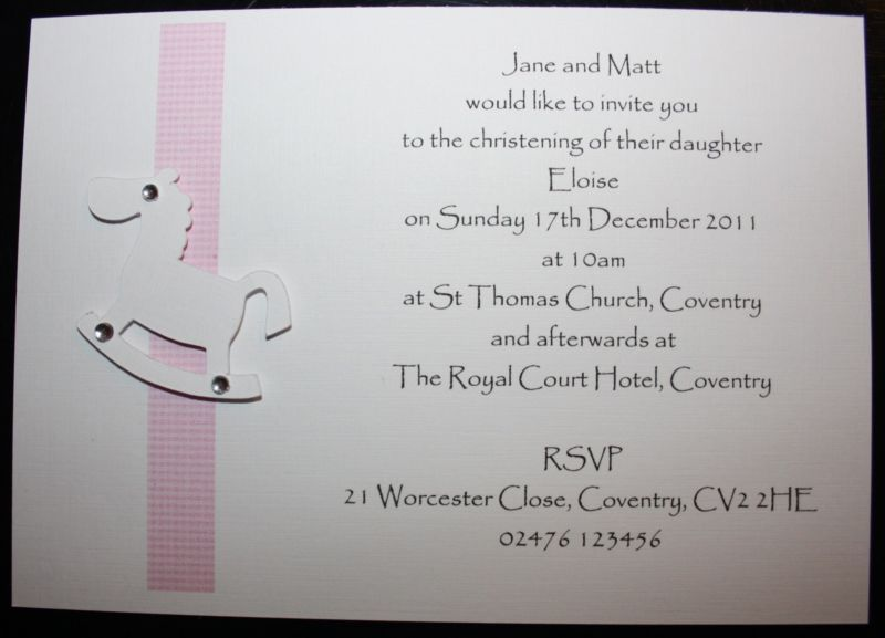Handmade ChristeningBaptismNaming Ceremony Invitations
