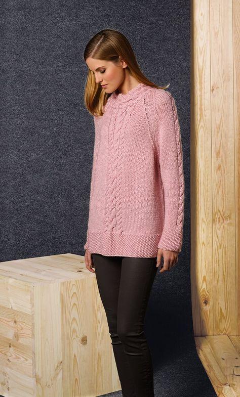 Damen-Pullover mit Zopf-Mustern - kostenlose Strickanleitung ...