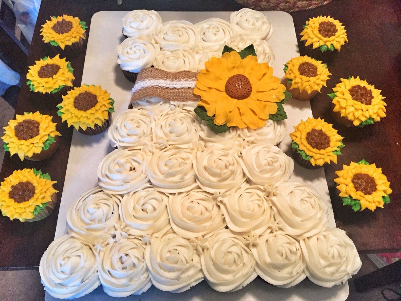 Wedding Dress Cupcake Cake with additional sunflower cupcakes. Sash ...