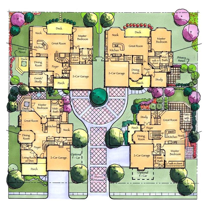 Courtyard Cluster Homes Cluster House Family House Plans Multigenerational House Plans