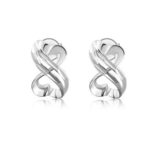 14k Italian White Gold Diamond Cut Infinity Symbol Heart Designed Promise Stud Earrings Women
