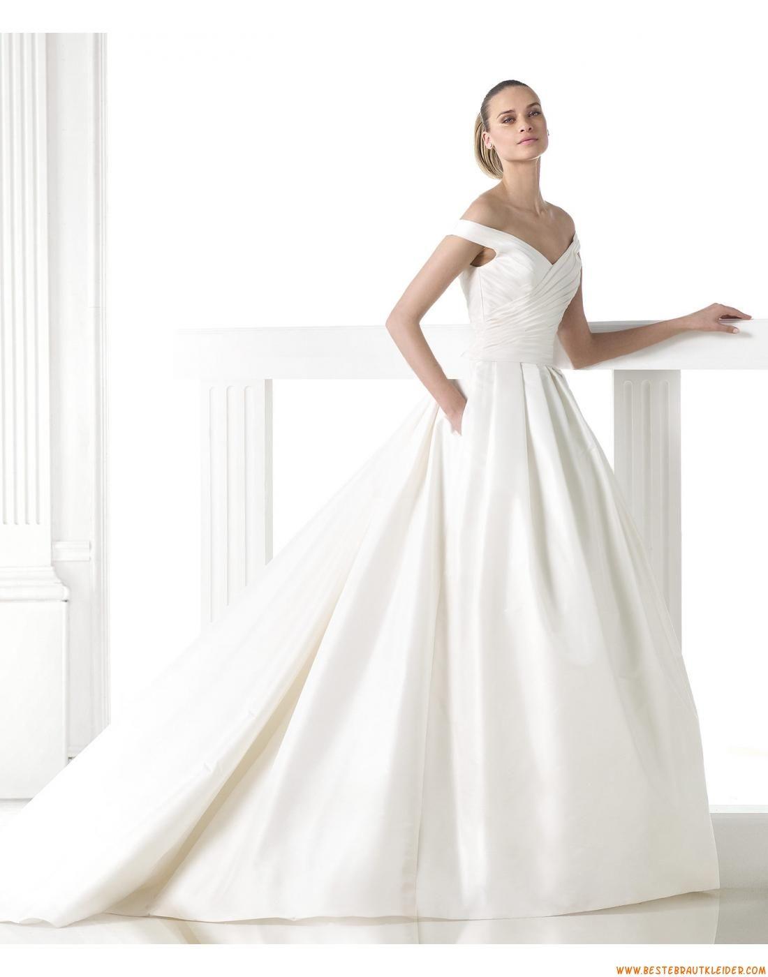 2015 A-linie V-ausschnitt Schlichte Brautkleider aus Taft mit ...