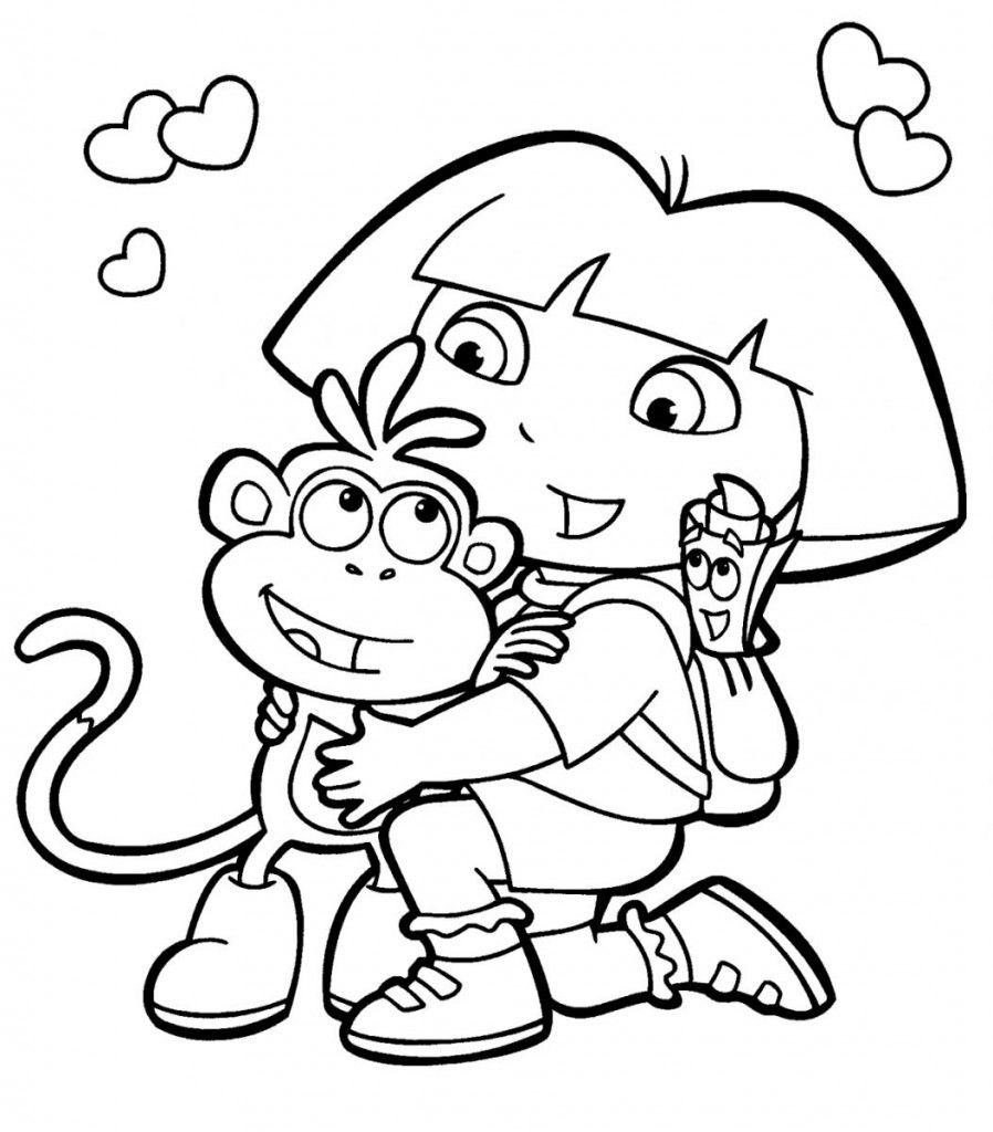 Dora The Explorer Hugging Boots Coloring Pages For Kids Printable