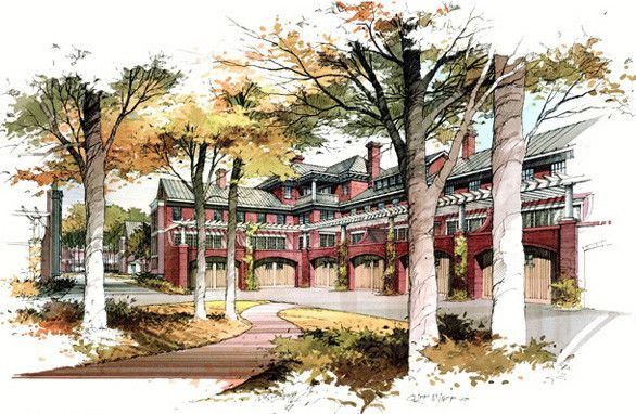 Perspective Renderings Watercolor Architecture Landscape