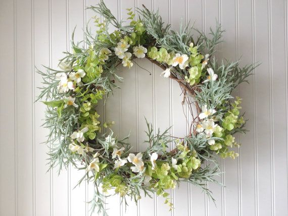 Summer wreath with white florals and eucalyptus. Wreath for summer. wreath for door. summer door wreath. on Etsy, $77.14 AUD