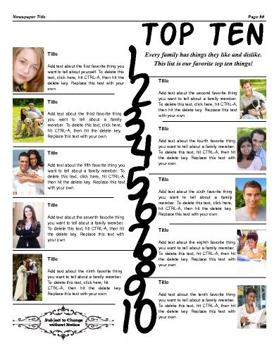 top ten use this page to list favorites of the family try this 11