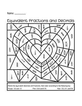 Valentine S Day Equivalent Fractions And Decimals Activity