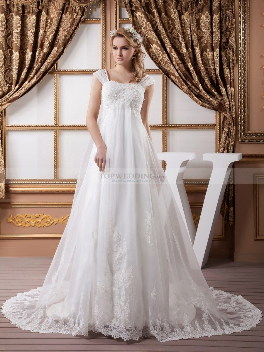 Lace and Satin Cap Sleeve Empire Bridal Gown with Beading Details ...