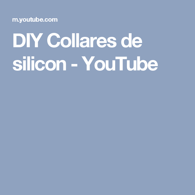 DIY Collares de silicon - YouTube
