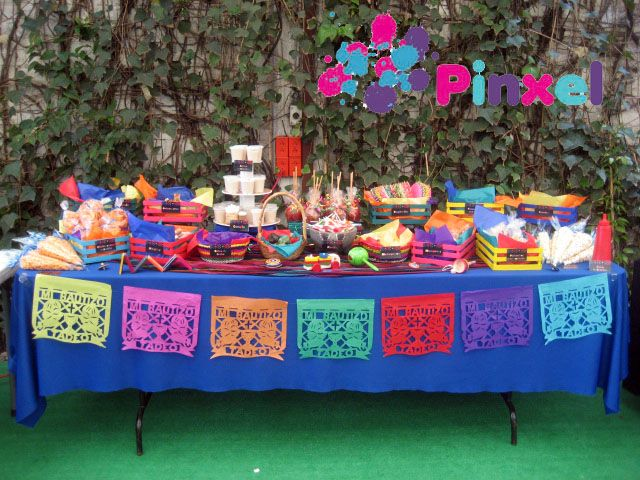 Pinxel decoraci n souvenirs mesa de dulces mexicanos for Decoracion kermes mexicana