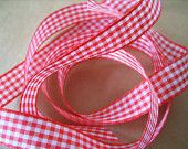 Red Gingham Ribbon - 15mm