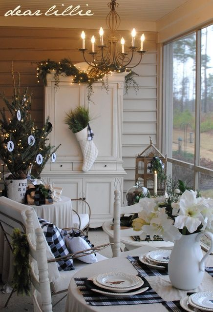 porch decorated for Christmas