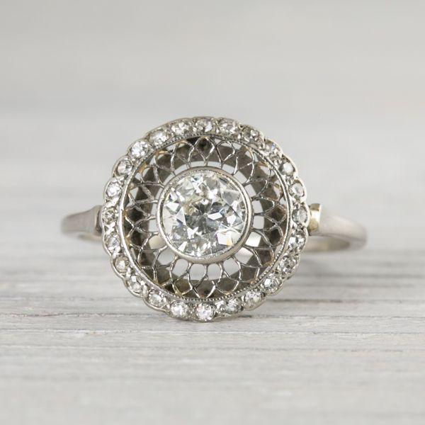 60 Carat Vintage Edwardian Diamond Engagement Ring New York