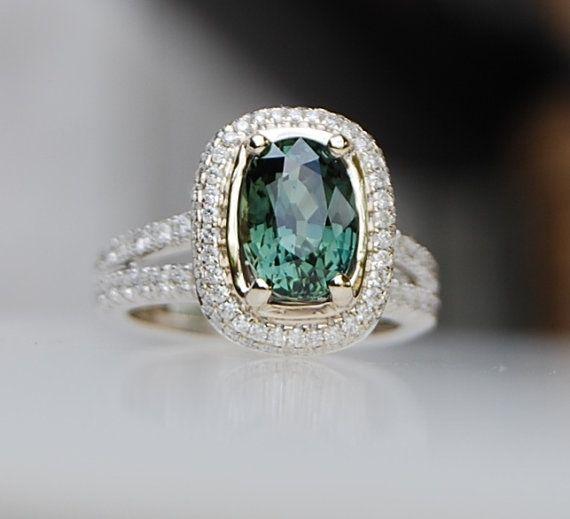 2.82ct Green blue cushion sapphire diamond ring von EidelPrecious, $4000.00