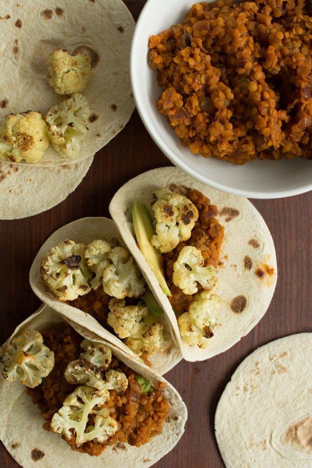 Roasted Cauliflower Tacos with Spicy Lentils, Golden Sultanas and Avocado {Vegan} | Lauren Caris Cooks