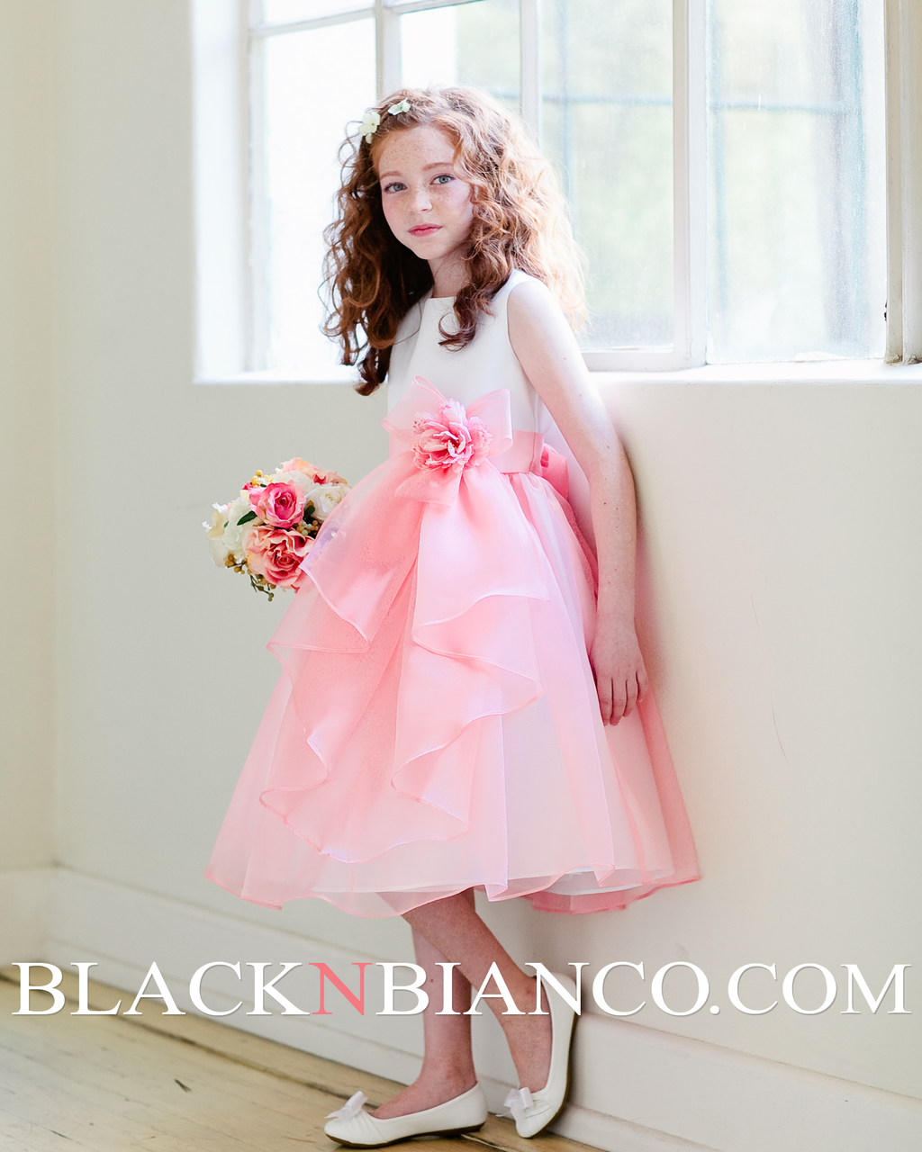 White and coral satin organza layered flower girl dress flower white and coral satin organza layered flower girl dress izmirmasajfo