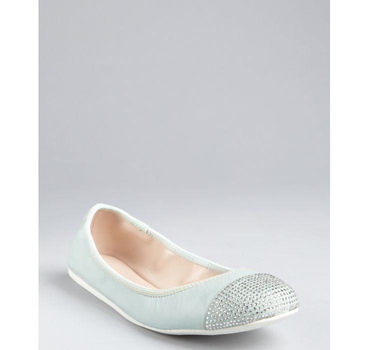 BCBGeneration aqua grained leather crystal cap toe 'Agatha' ballet flats