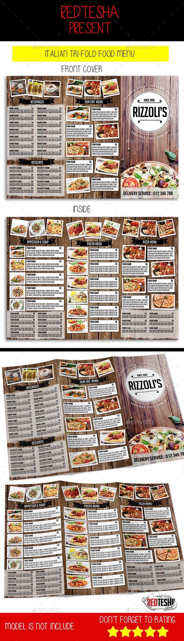 Italian tri fold menu menu templates template and food menu template italian restaurant or cafe tri fold menu template design download http maxwellsz