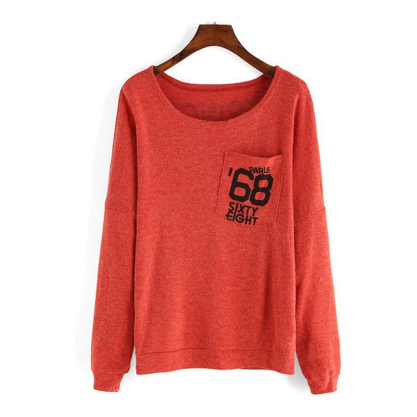 SheIn(sheinside) Orange Long Sleeve Letters Print Pocket T-Shirt ($9.89) ❤ liked on Polyvore featuring tops, t-shirts, orange, long sleeve cotton tees, long sleeve t shirt, red long sleeve tee, cotton pocket t shirts and embellished tee