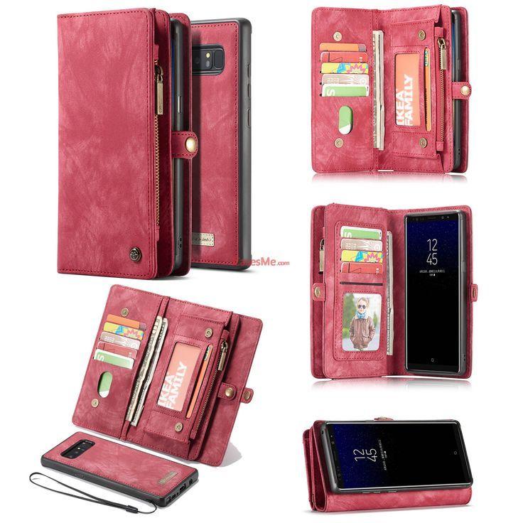CaseMe Samsung Galaxy Note 8 Detachable Zipper Wallet Folio Case Red  CasesPhone