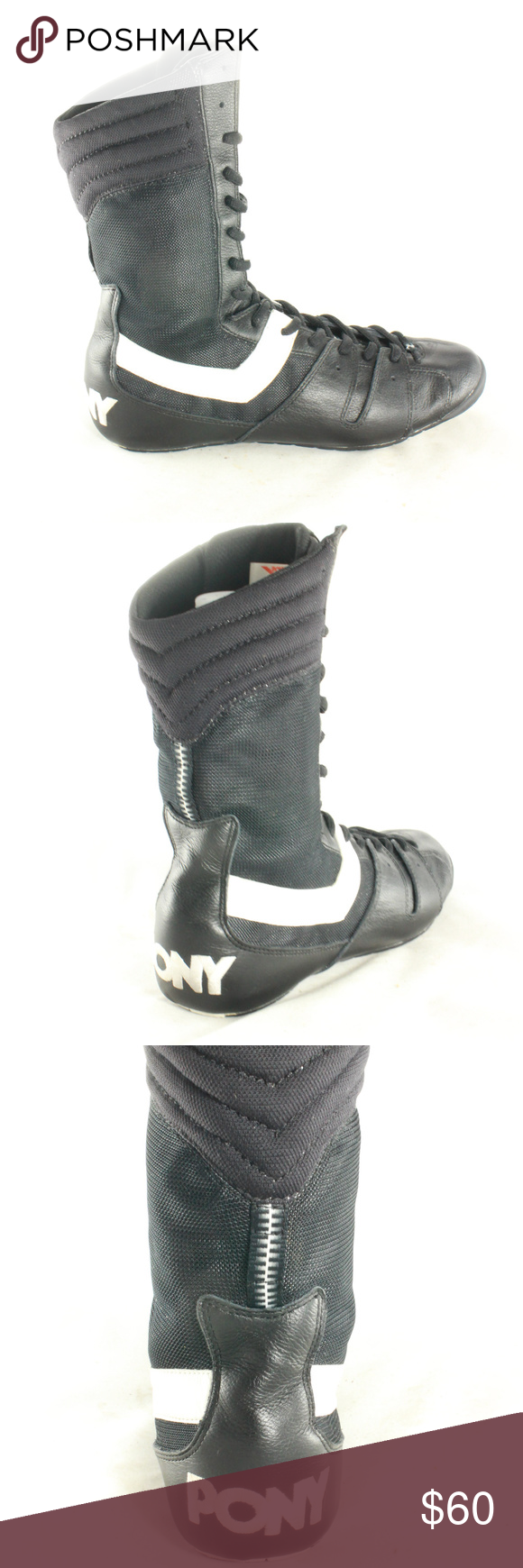Vintage Pony Black And White Sting Boxing Shoes Like New Inside And