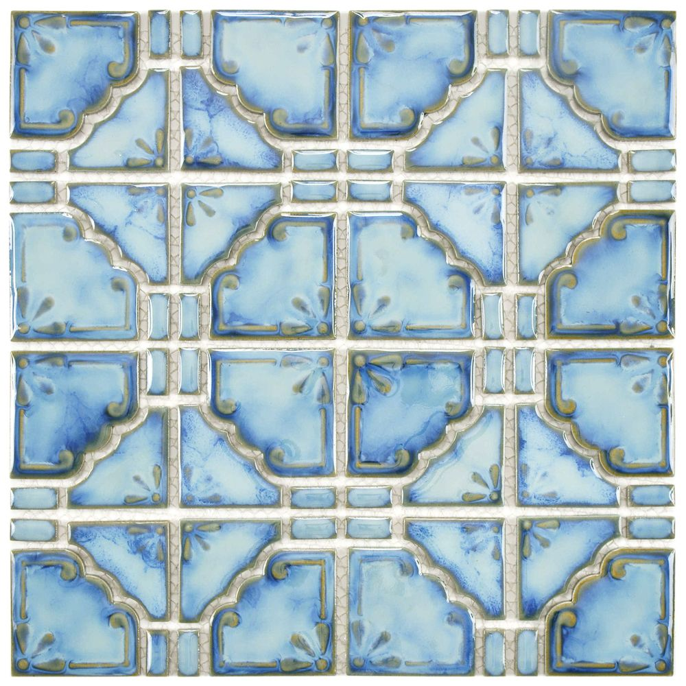 Somertile 11 75x11 75 Inch Luna Diva Blue Porcelain Mosaic Floor And Wall Tile 10 Tiles 9 79 Sqft Mosaic Tiles Wall Tiles Mosaic