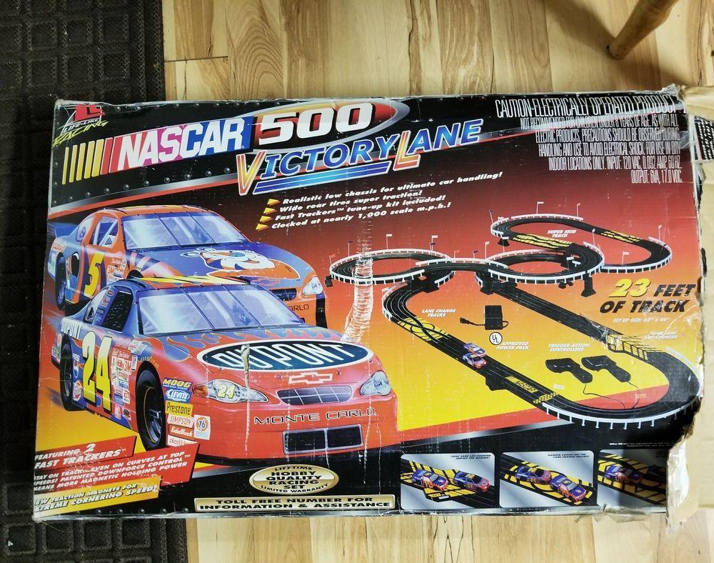 Life Like Nascar 500 Victory Lane Elect Slot Car Set 23 Feet Track Fast Trackers Lifelike Slot Car Racing Sets Slot Car Sets Nascar