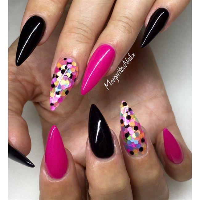 Pink And Black Nail Art Gallery Diseo De Uas Pinterest
