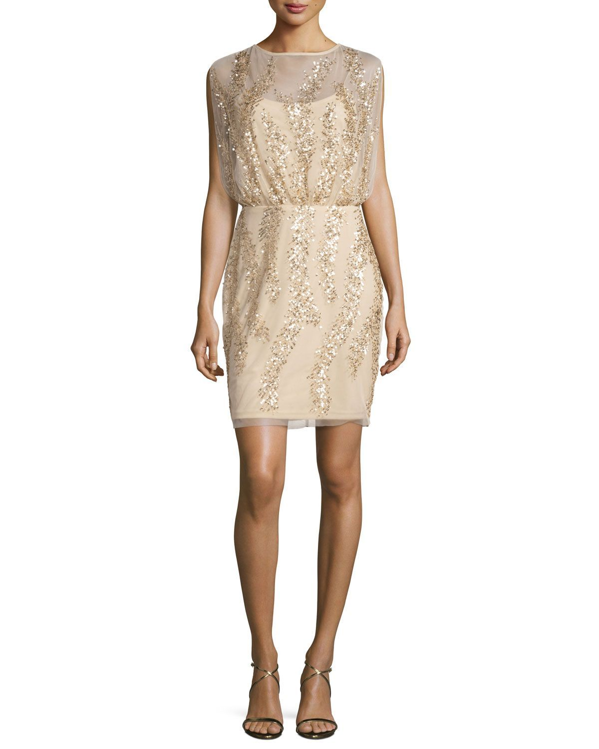 Sleeveless embellished tulle cocktail dress light gold