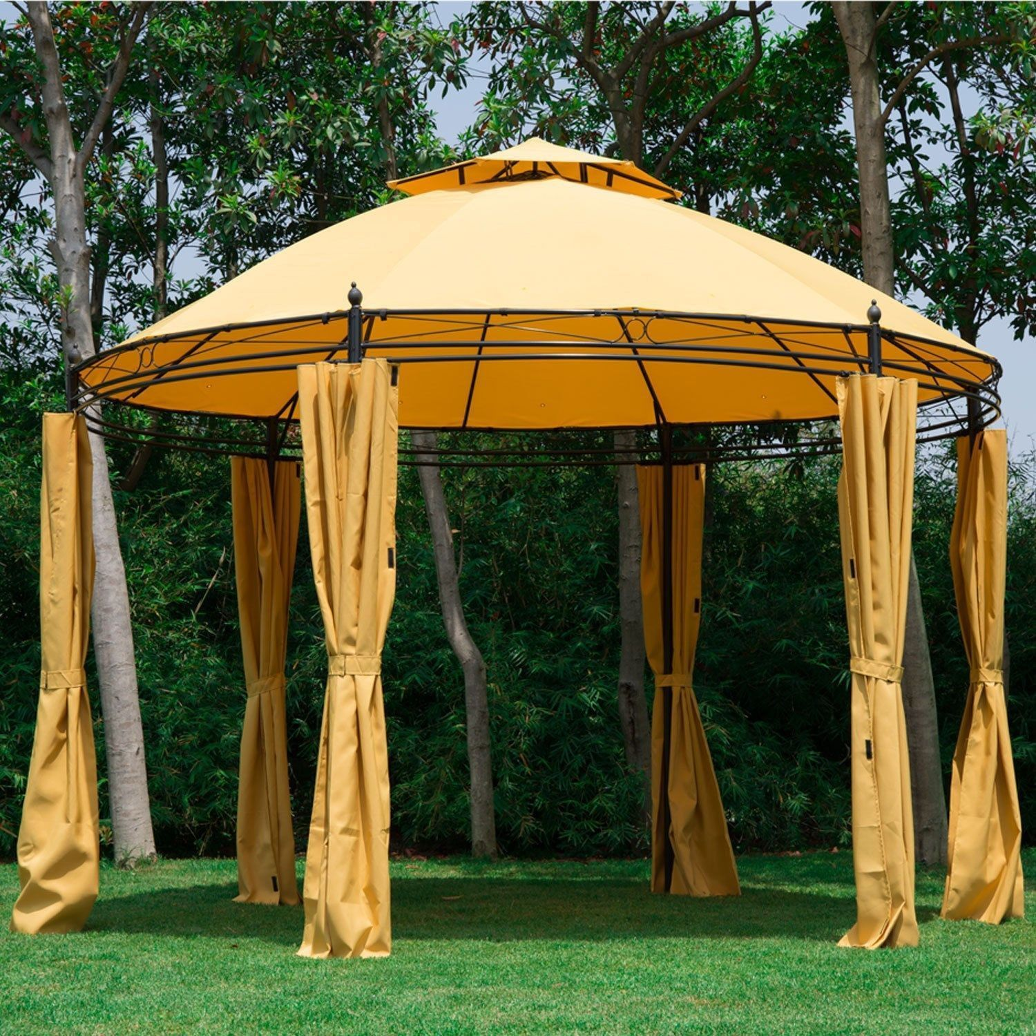 Gazebo curtains outdoor - Outdoor 11 5 Round Double Tier Roof Gazebo Canopy Patio Shelter Tent W Curtains Orange