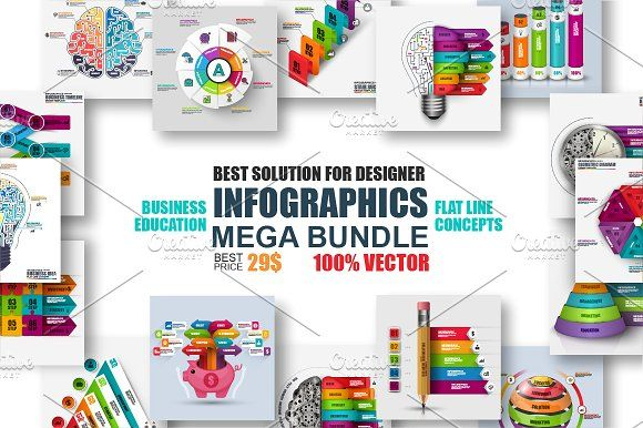 Infographic Templates Mega Bundle By Alexdndz On Creativemarket