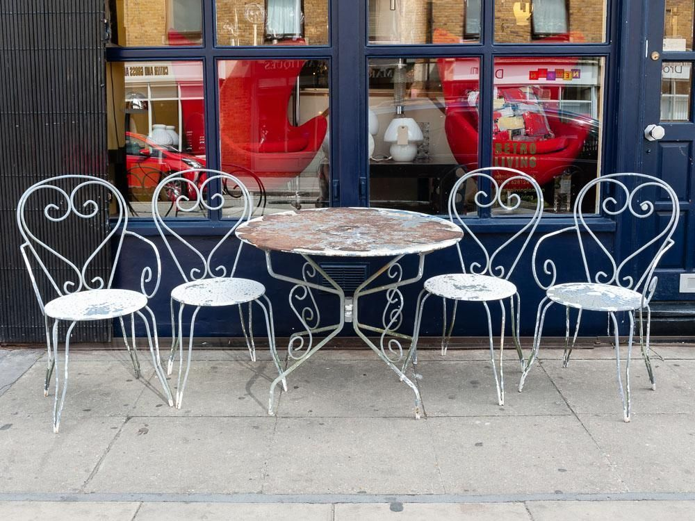 Vintage 1950 S French Blue And White Garden Furniture Set Build