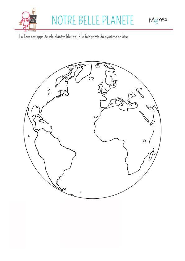 Coloriage La Planète Terre Terre Dessin Planete Terre Et