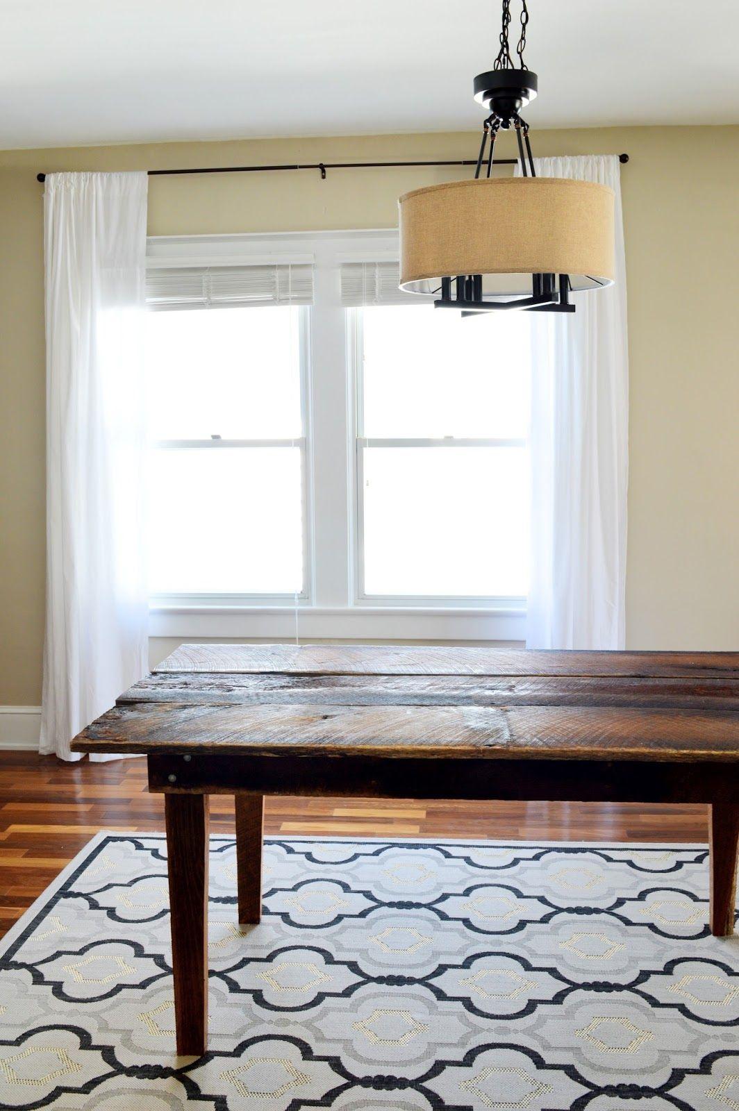 724 South House | From Farmhouse to Our House: Dining Room Table | Farmhouse Table | Ballard Designs Trellis Rug