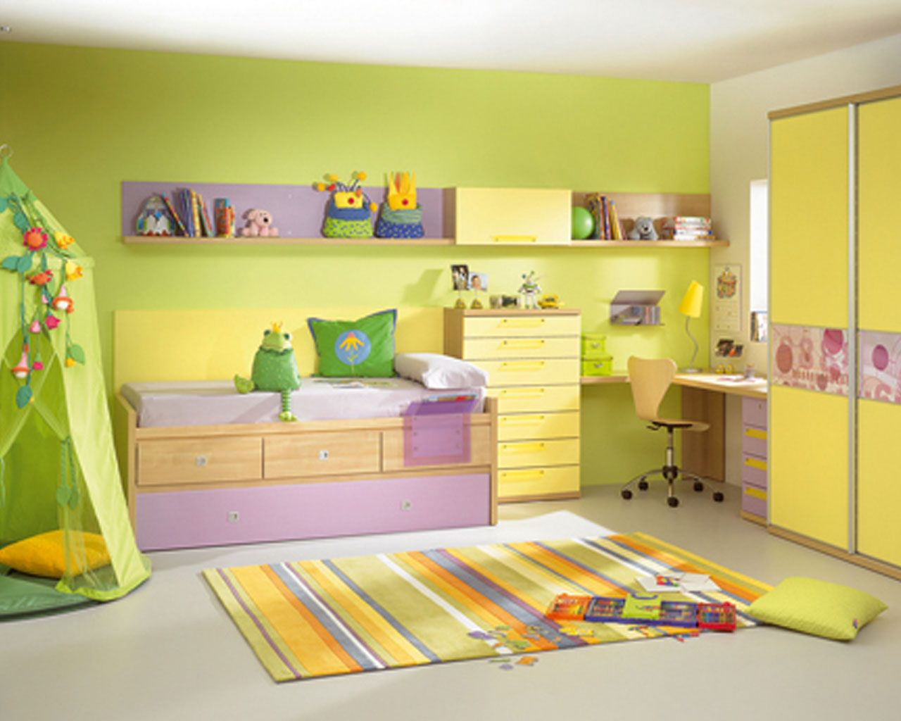 Lime green and white themed kids room paint ideas with simple brown wood bed frame that have Fun bedroom decorating ideas