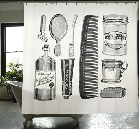 Barbershop Themed Canvas Shower Curtain