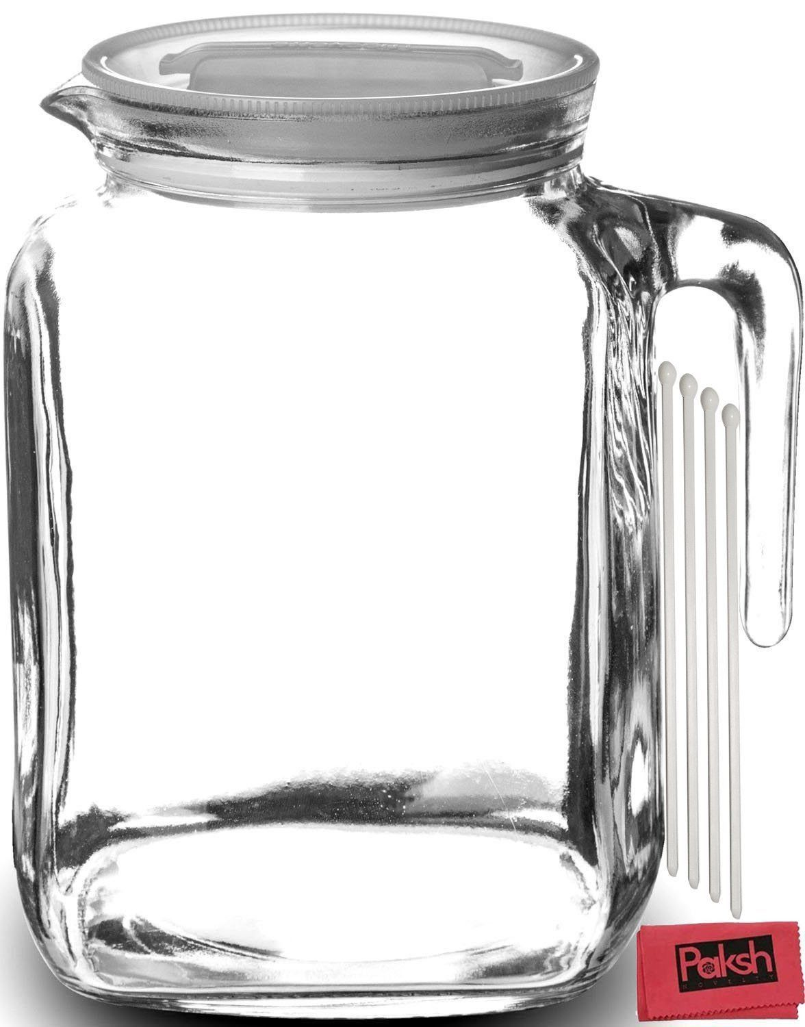 Special Hermetic Seal Glass Pitcher Homemadejuice Iced Tea Or Milk Bottles Bundled Spout Ounce Lid Spout Ounce For Stirrers Cloth Hermetic Seal Glass Pitcher Lid