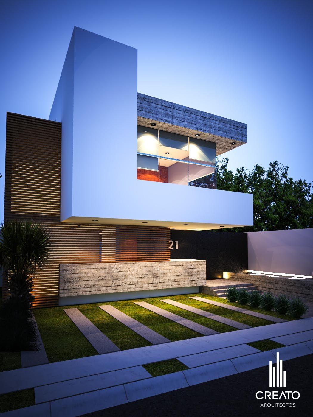 Vista frontal villas fachadas de casas modernas for Planos de casas minimalistas modernas