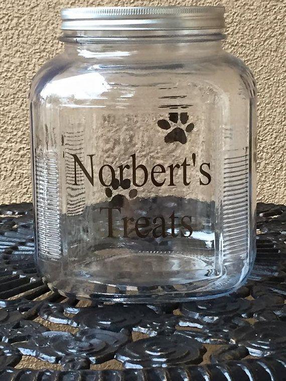 233bb1f8b85a Personalized Dog Treat Jar- Cute dog treat jar, Treat jar with name ...