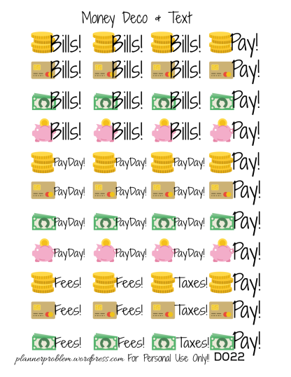Money Deco & Text – Free Printable Planner Stickers ...