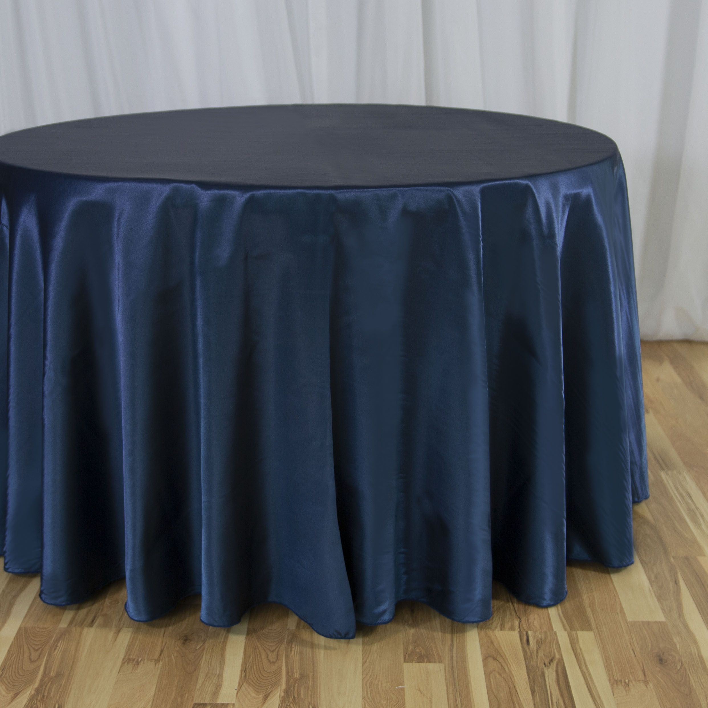 118 In Round Satin Tablecloth Navy Blue Table Cloth Navy Table