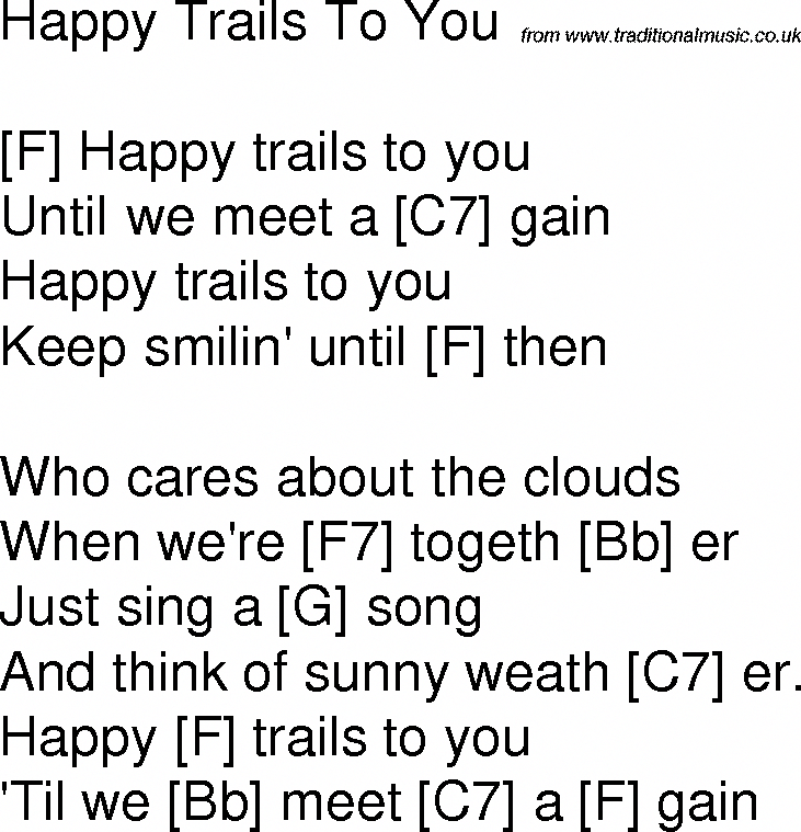 Old time song lyrics with chords for Happy Trails To You