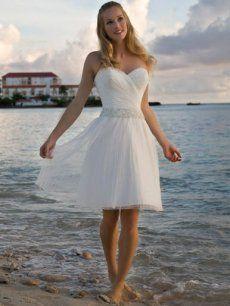 Cheap Short Tulle Beach Bridal Gown With Beading Sydney Australia