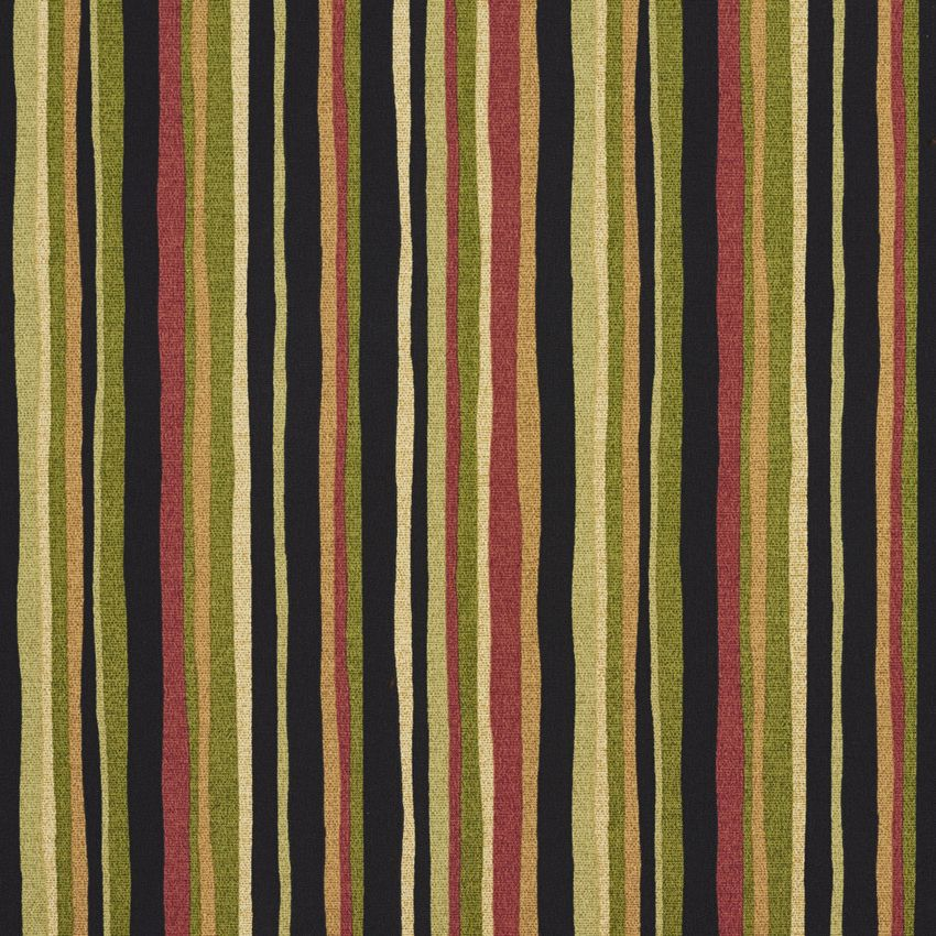Tropical Green And Black And Coral Small Stripe Print Upholstery Fabric Upholstery Fabric Fabric Kovi Fabrics